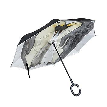 MyDaily Paraguas invertido de doble capa para coches, paraguas invertido, bonito pingüino, resistente