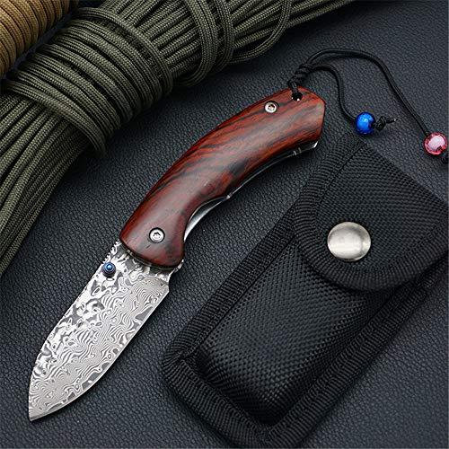 KUNSON Awesome Damascus Folding Pocket Knife, Sandalwood+Stainless Steel Wood Handle, EDC Tactical Hunting Knife with Safety Liner Lock and Nylon Knife Sleeve ()