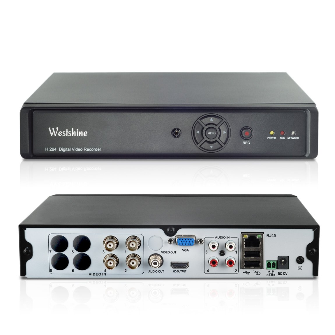 Westshine 4CH 5MP 5-IN-1 Hybrid DVR,H.264,25601920P Realtime CCTV Surveillance DVR, Support Onvif, HDMI Output, Motion Detection, Email Alert, Remote Access, P2P Cloud Network, QR Code Scan(NO HDD)