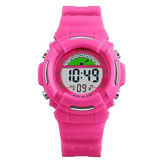GRyiyi - Reloj Digital Deportivo para niños, Resistente al Agua, Reloj de Pulsera para niños y niñas, Color Rosa Rojo: Amazon.es: Relojes