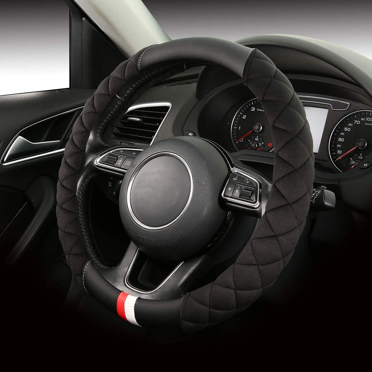 Plush-bla Plush Steering Wheel Cover for Men-Fuzzy Steering Covers Keep Warm Universal Size