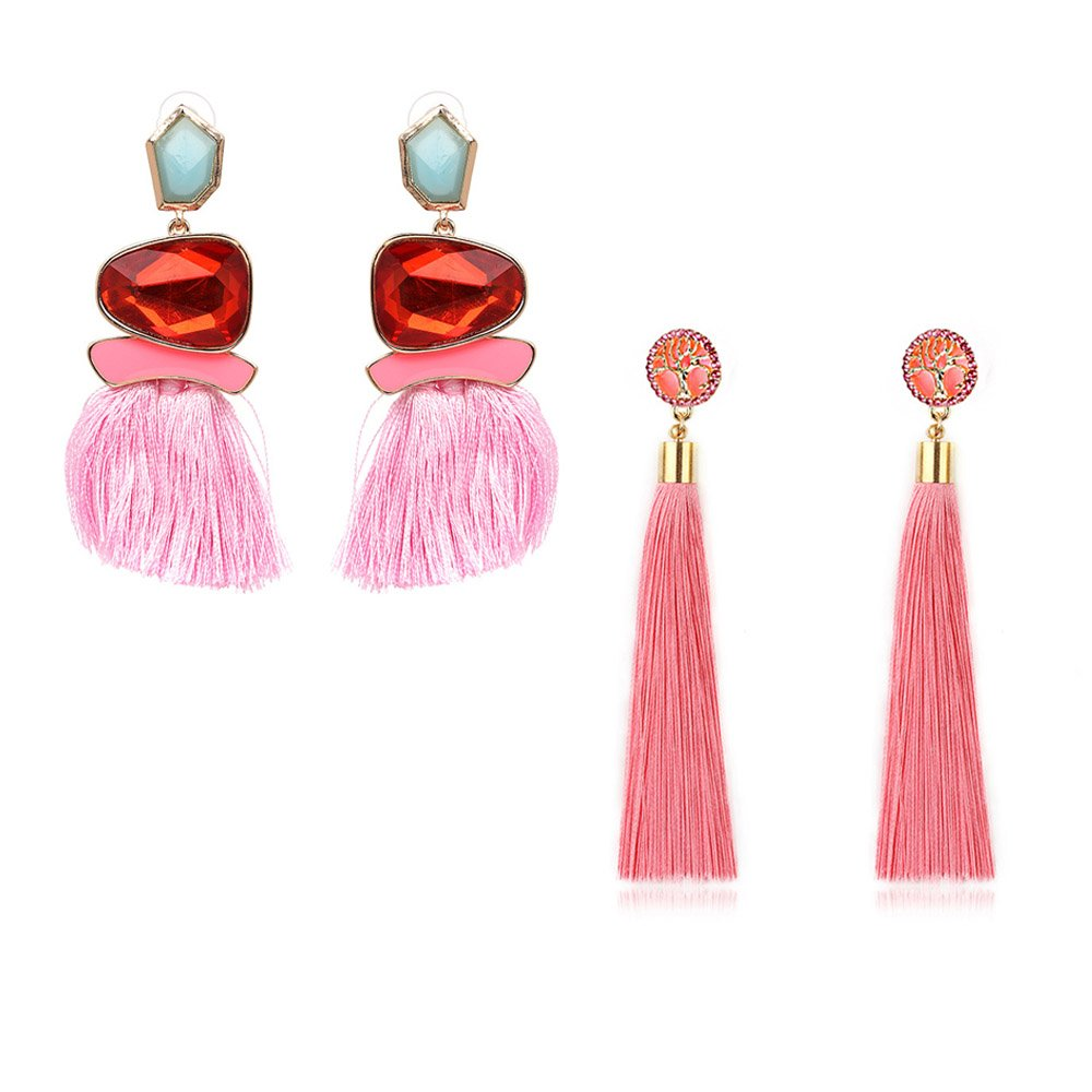 Tassel Earrings Cute Dangle Crystal Earring Thread Jewelry Bohemian Drop Earrings (2 Pairs Pink Long Tassel Earrings)