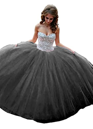 db29db3e43 Elley Women s Sweetheart Neckline Crystals Formal Sweep Train Floor Length  Prom Homecoming Ball Gown Quinceanera Dress