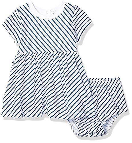 Splendid Baby Girls Diagonal Stripe Dress Set, Optic White, 3/6 mo
