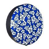 35'' Rigid Tire Cover (Plastic Face & Vinyl Band) - Hawaiian Print - Blue
