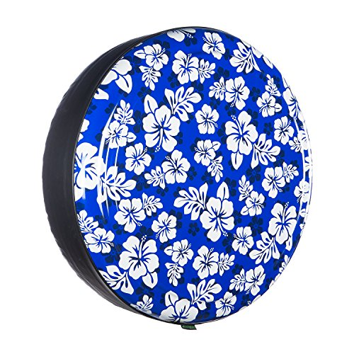 35'' Rigid Tire Cover (Plastic Face & Vinyl Band) - Hawaiian Print - Blue by Boomerang