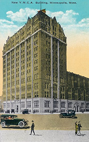 New Ymca Building (Minneapolis, Minnesota - Exterior View of the New YMCA Building (12x18 SIGNED Print Master Art Print w/ Certificate of Authenticity - Wall Decor Travel Poster))