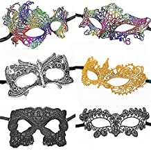 ANIN 6 Packs Women's Sexy Lace Masks of Fixed Shape Styling Eye-mask for Ball Party Venetian Masquerade Costume