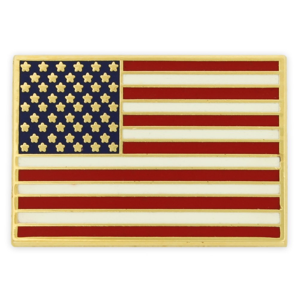 PinMart's Gold Plated Made in USA Rectangle American Flag Enamel Lapel Pin