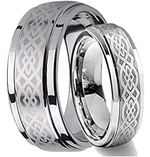 6MM Titanium Mens Womens Rings Laser Etched Celtic Knot Design