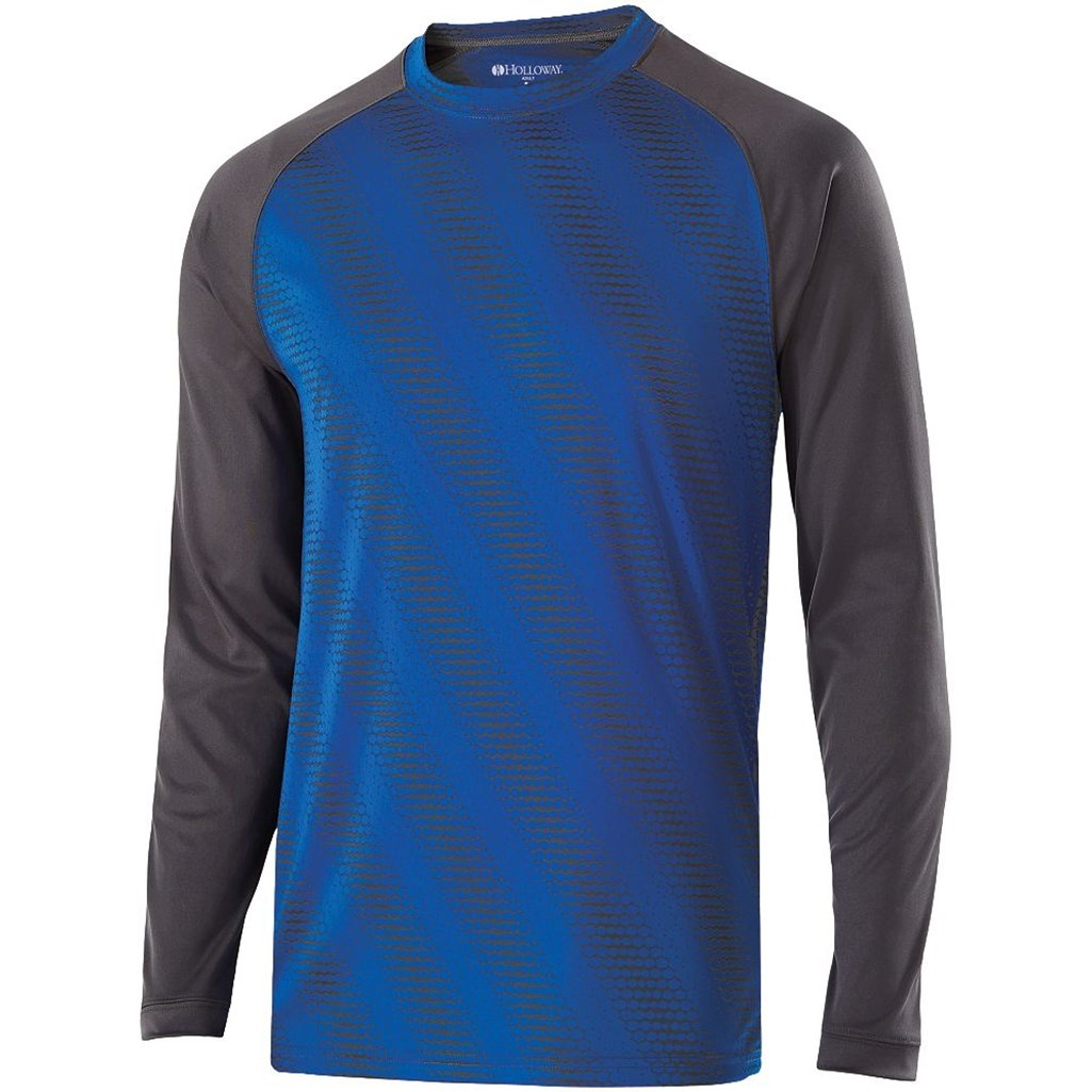 Holloway Youth Torpedo Semi-Fitted Long Sleeve Shirt (Large, Royal/Carbon) by Holloway