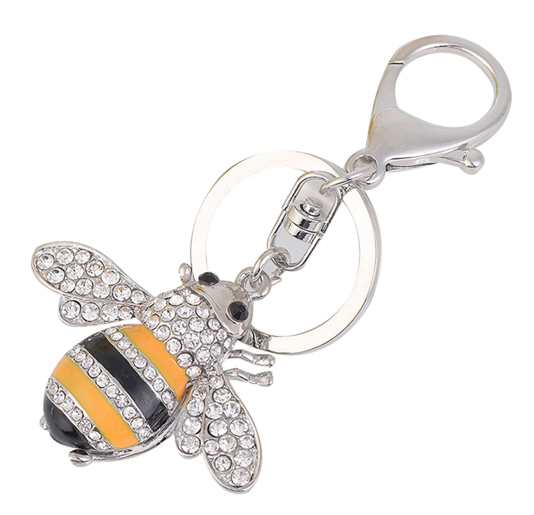 Bling Silver Bee Crystal Animal Car Keychain Bag Decoration Key Ring Pendant Ornament Small Gift