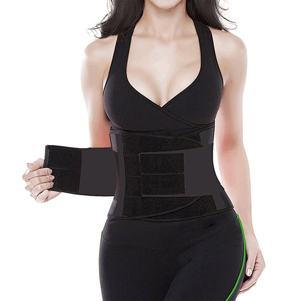 Waist Trimmer Belt Back Support Adjustable Abdominal Elastic Waist Trainer Hourglass Body Shaper Girdle Belt (Black, Small)