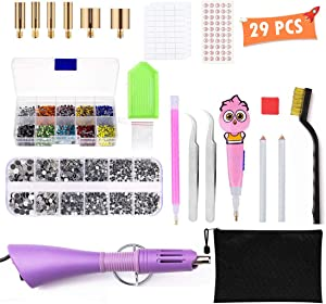 DIY Rhinestone Tools - houmi Hot fix Rhinestone Setter Applicator Wand Tool Kit Set with 7 Different Sizes Tips/Tweezers/2 Rhinestone Pickers/Brush Cleaning kit and 2 Pack HotFix Crystal Rhinestones