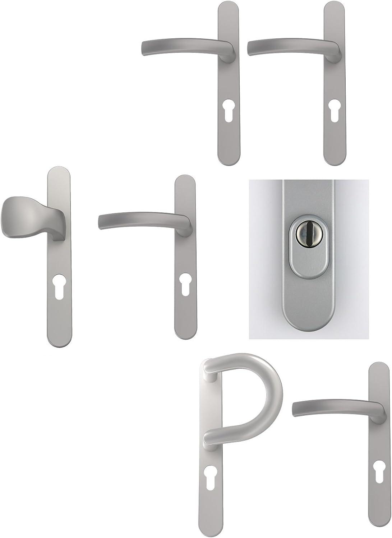 Dr/ücker// Knopf Silber pulverbeschichtet Farben div Schmalrahmengarnitur Schutzbeschlag Schildgarnitur Wechselgarnitur mit Kernziehschutz
