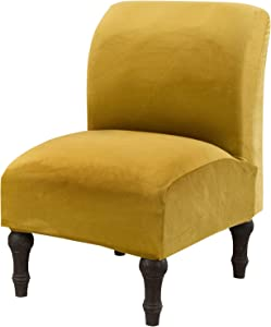Armless Chair Slipcovers Stretch Furniture Protector Covers, Stretch Couch Cover Removable Washable for Home Hotel Living Room (Yellow)