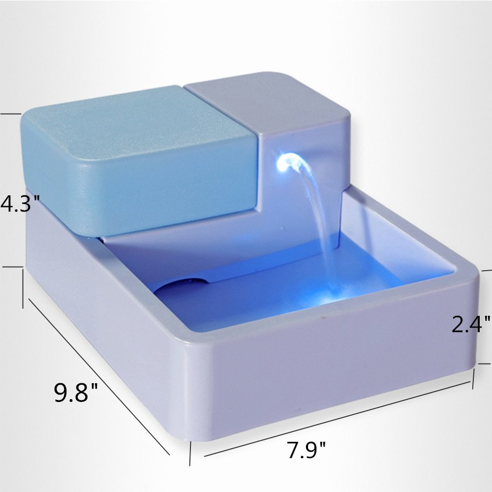 1.8 L Automatic Pet Water Fountain -Safe Drinking Filter Bowl for Dogs Cats with LED Light US Plug