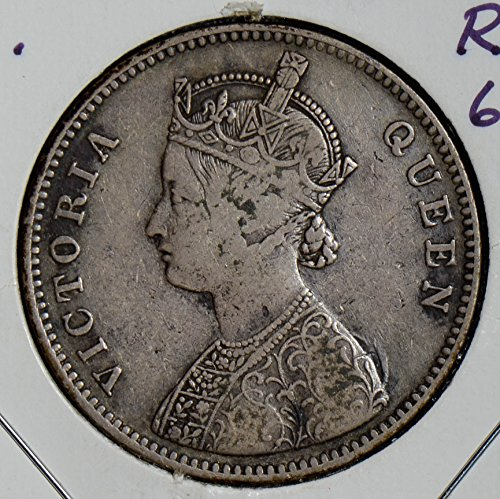 (1862 IE I0220 British India Rupee B split legend rare variety 6 dots silver DE PO-01)