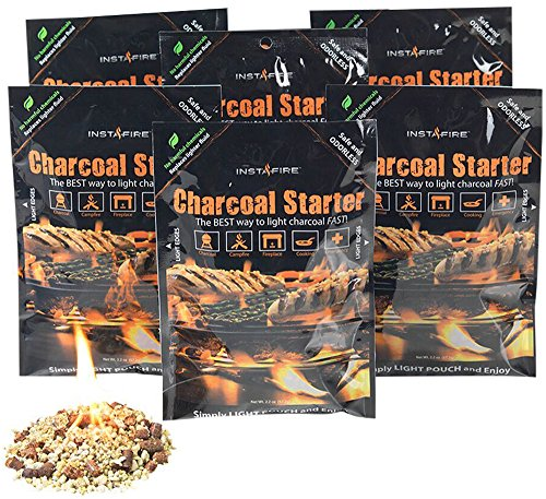 Instafire Charcoal Brquette Fire Starter Pouches for Grills, Smokers, More - Chemical Free 6 Pk