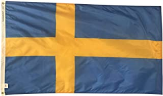 product image for 3x5' Sweden Flag, Durable and Fade Resistant All Weather Nylon, with Canvas Header and Brass Grommets, 4 Rows of Fly End Stitching, Made in USA