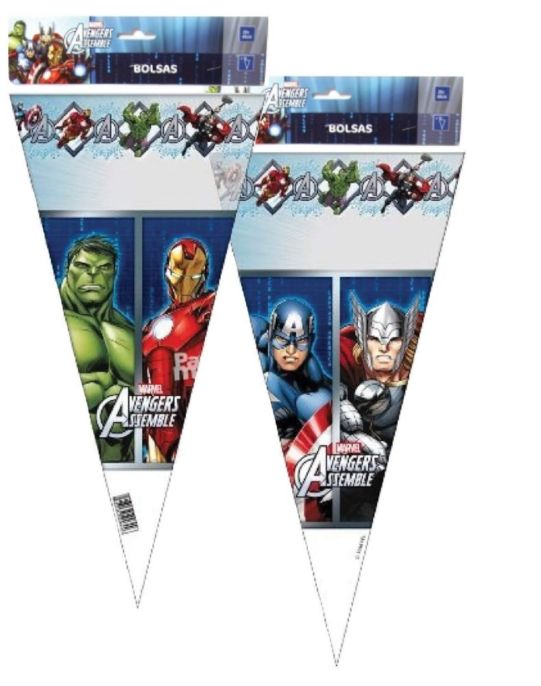 12 Marvel Avengers Party Food Boxes /& Matching Cone Sweet Loot Favour Bags /& Tie