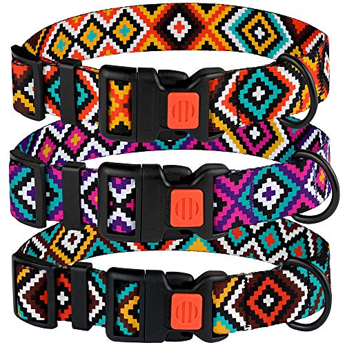 CollarDirect Aztec Dog Collar Adjustable Nylon Tribal Pattern Geometric Pet Collars for Dogs Small Medium Large Puppy (Tribal Magenta, Neck Fit 10
