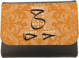 محفظة جلد  بتصميم احرف عربية - ح، مقاس 11cm X 14cm