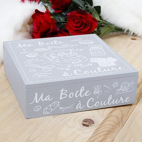 Hermoso color gris de madera 5th aniversario de boda francés estilo decorado costura Accesorios Caja de