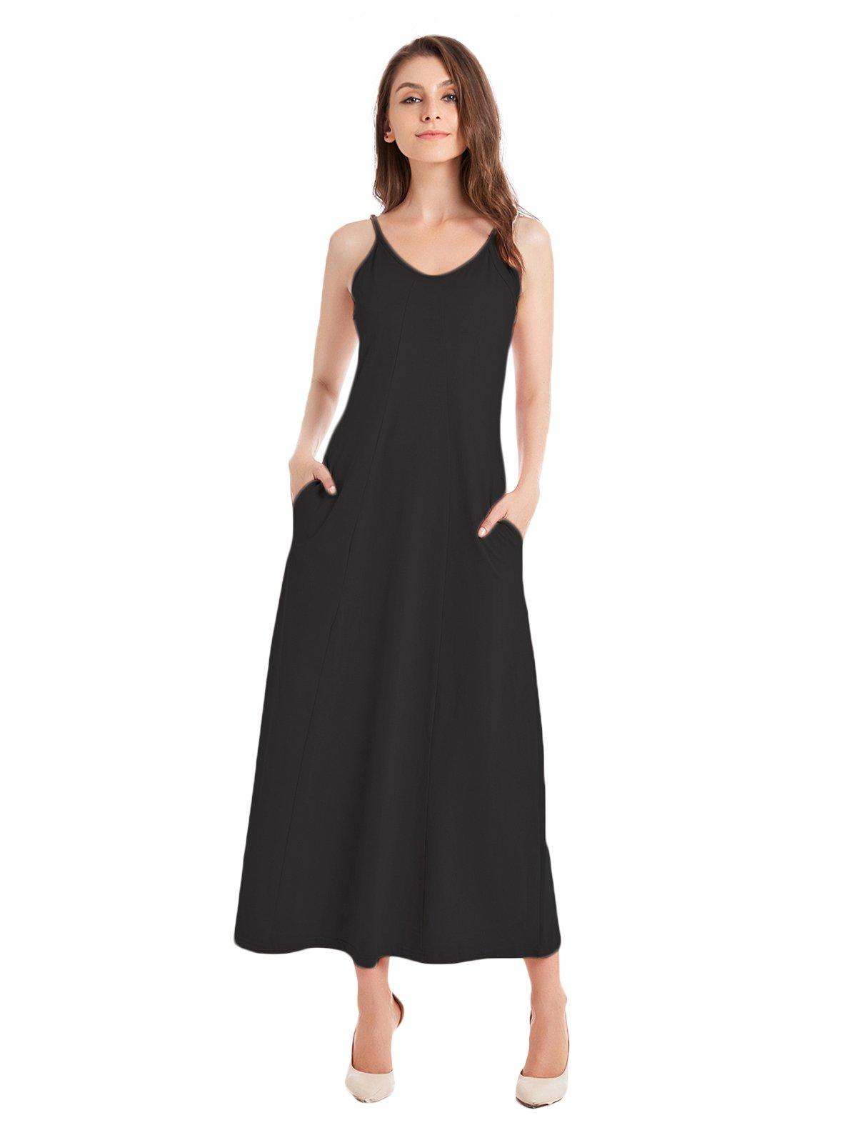 TOTOFITS Women's Summer Beach Cotton Knit Casual Long Maxi Dress Spaghetti Strap Sleeveless Slip Cami Sundress with Pockets (Black, M)