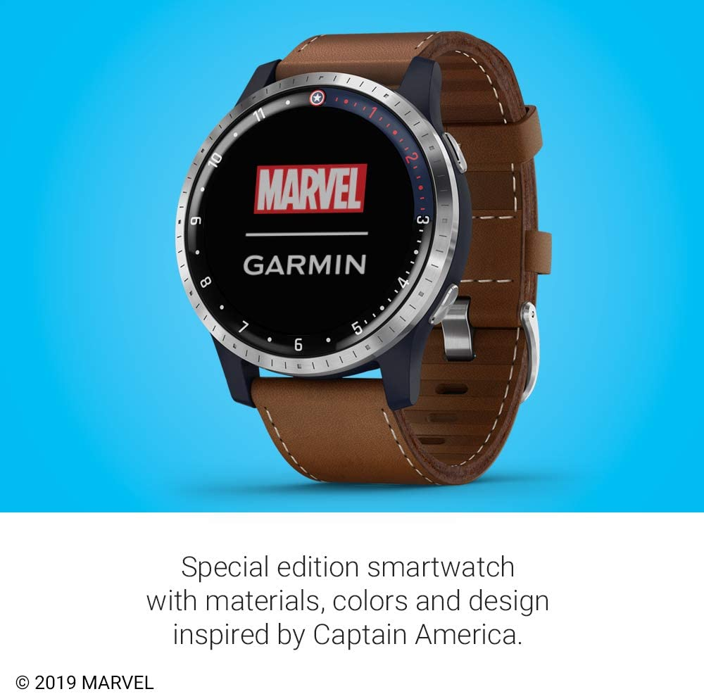 Garmin Legacy Hero Series, Marvel Captain America Inspired Premium Smartwatch, Includes a Captain America Inspired App Experience