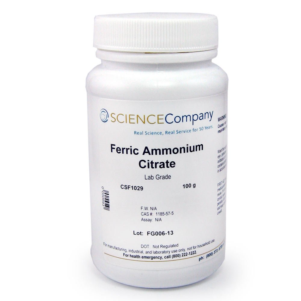 The Science Company, NC-0367, Ferric Ammonium Citrate, 100g