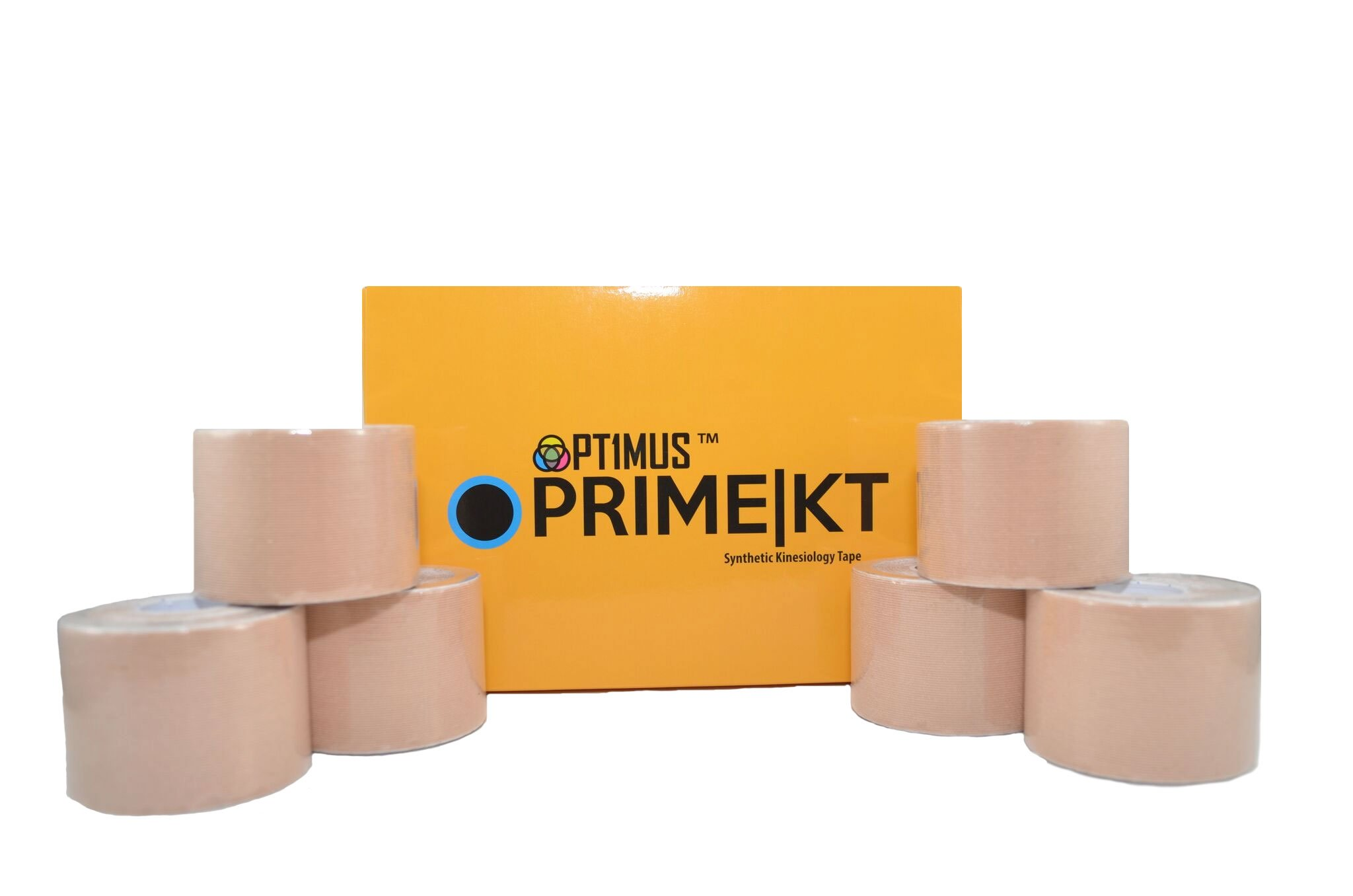 Prime KT Synthetic Kinesiology Tape, 6-Pack of 2 Wide x 16.4' Long Uncut Synthetic Kinesio Therapeutic Tape. Beige/Tan. Multipack KT Tape for Taping Knee, Shoulder, Elbow, Back, Ankle, and More.