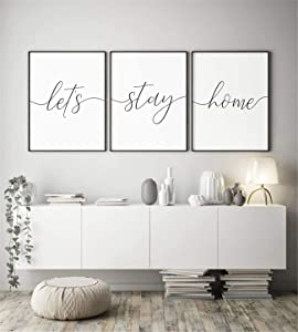NATVVA Minimalist Large Canvas Poster 3 Pieces Let's Stay Home Poster Motivational Wall Art Painting Family Quote Pictures Gifts Artwork for Office Home Decor Framed Ready to Hang