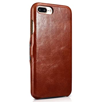 6cbd4ee68e6 SLEO Funda iPhone 7 Plus/iPhone 8 Plus, Carcasa con Tapa Cuero Interior  Ultra Slim Flip Folio ICARER Case para iPhone 7 Plus/iPhone 8 Plus - Retro  Marrón: ...