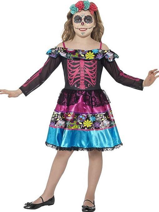 erdbeerclown – Niña Infantil Disfraz Día de los Muertos Esqueleto ...