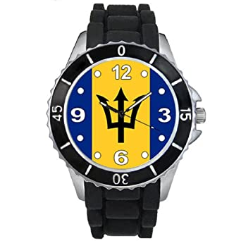 Timest - Barbados Country Flag - Unisex Watch with Silicone Strap in Black SE0356b