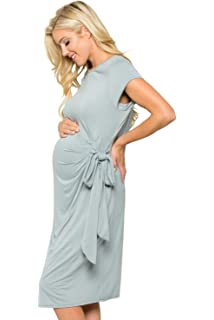 d36a88e23d8 My Bump Women s Side Bow Tie Cap Sleeve Solid Color Maternity Dress(Made in  USA