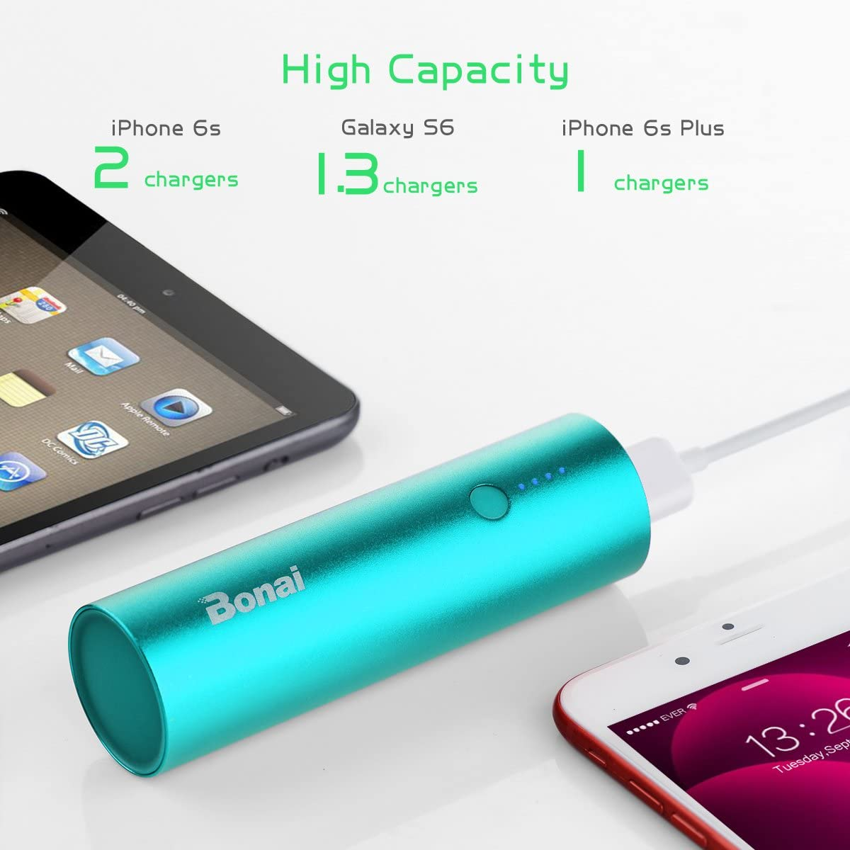 Ultra-Compact Portable Charger BONAI Power Bank 5000mAh, Charging Cable Included Aluminum Travel Slim External Backup Battery Pack High-Speed Output Compatible iPhone,iPad,iPod,Samsung Mint