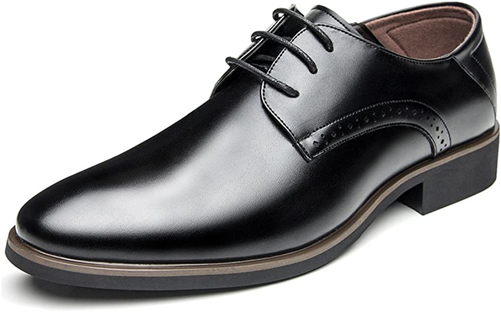 Breathable Hole Optional Mens Business PU Leather Shoes Smooth Lace Up Oxfords