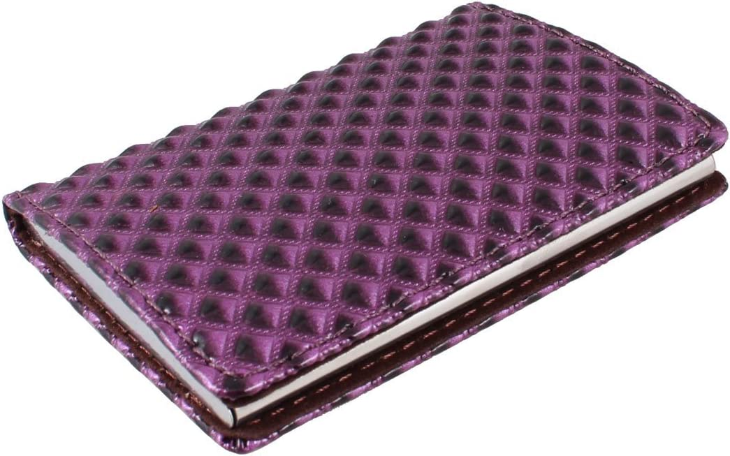 Uxcell Faux Leather Coated Plaid Pattern Business Card Case, Purple