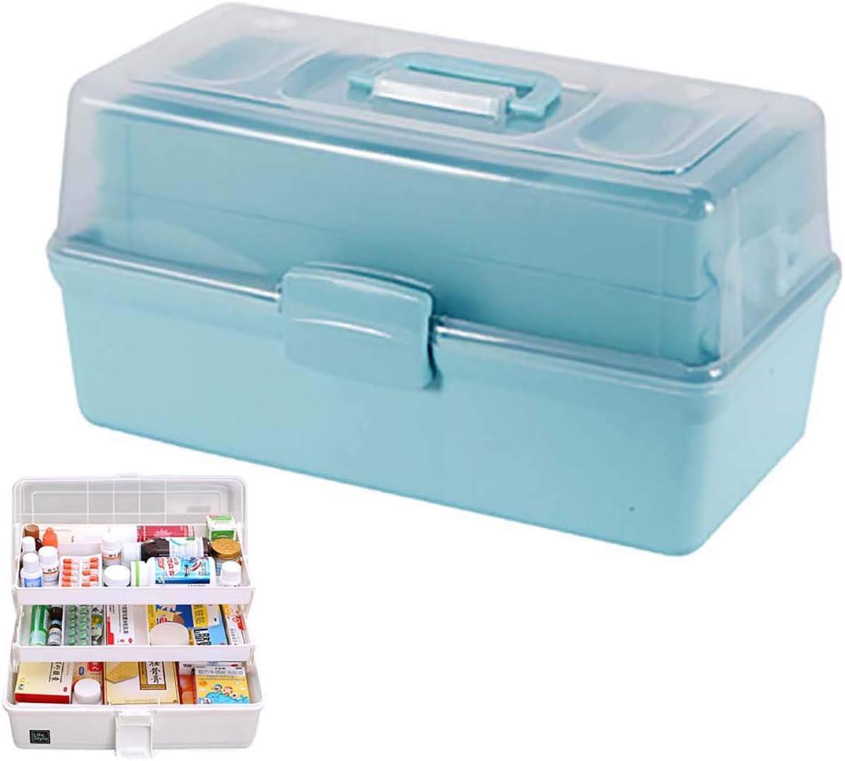 FengHuiHome Organizador de la Caja de Almacenamiento Cajas de medicamentos Kit de Emergencia Familiar Primeros Auxilios Contenedor Transparente