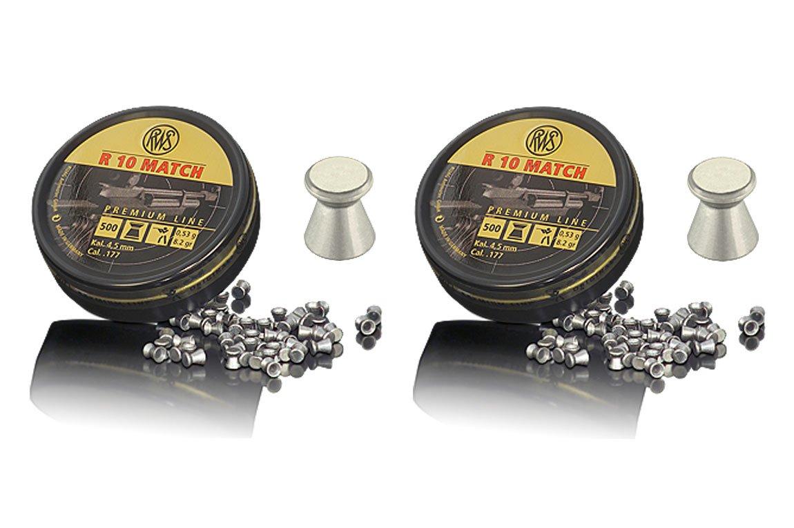 Outletdelocio. 2 latas de 500 perdigones RWS R-10 Match 4, 5mm. Modelo 32300103. Alta precisión