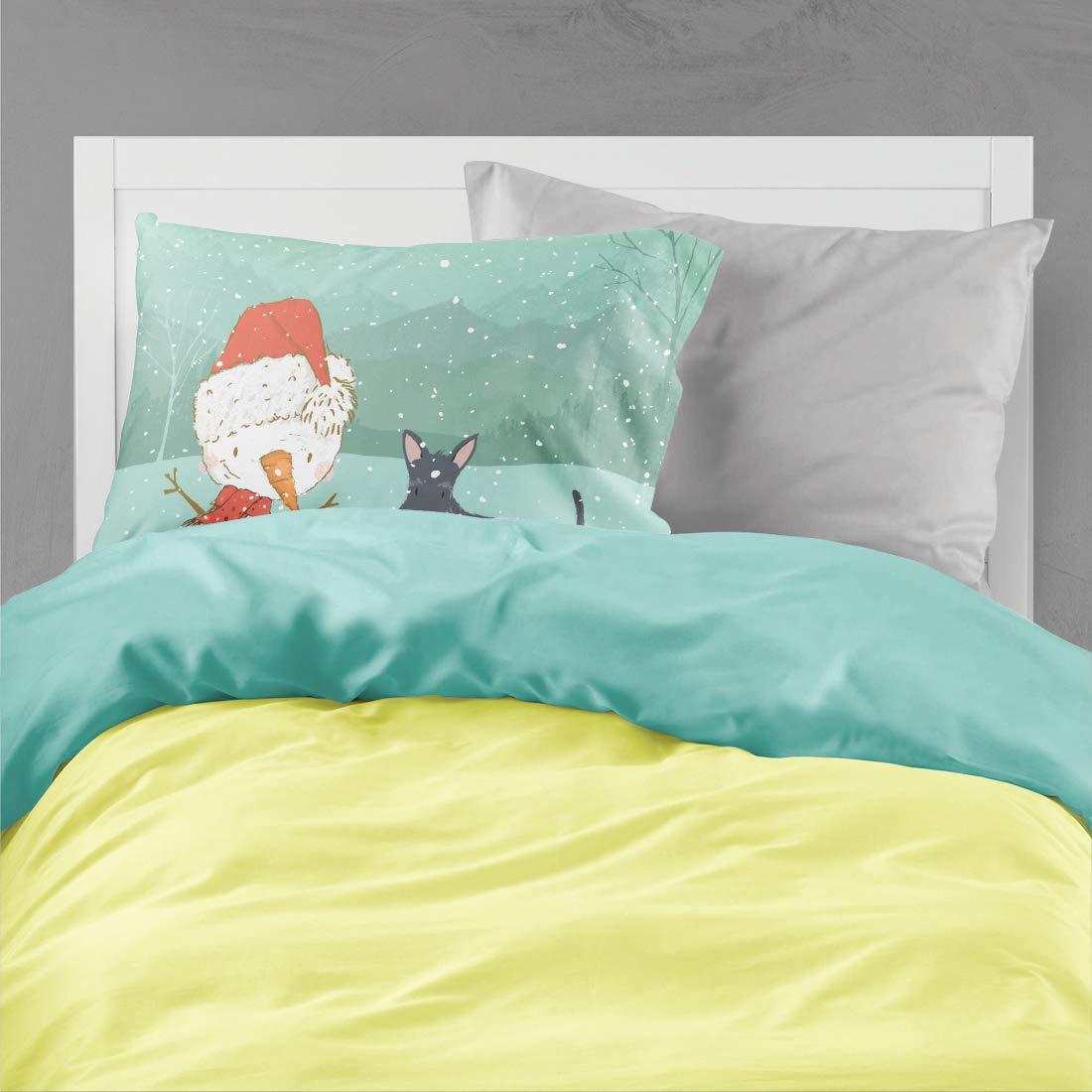 Carolines Treasures White Spot Bull Terrier Snowman Christmas Fabric Standard Pillowcase,