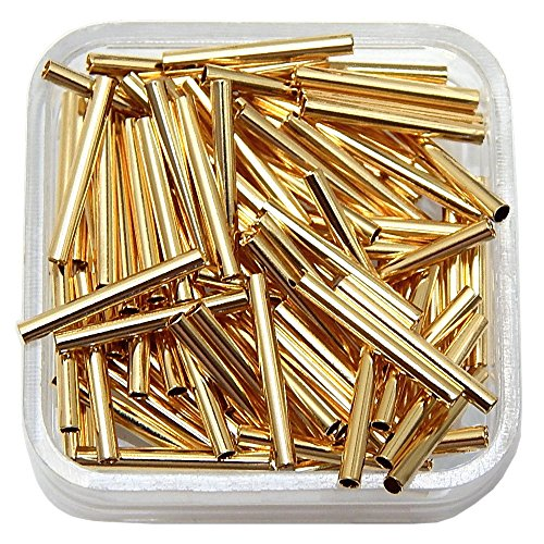 Tube Metal Spacer Bead 17x2mm ~ 1.5mm Hole Gold or Silver Plated 100pcs FINDINGS (Gold Plated)