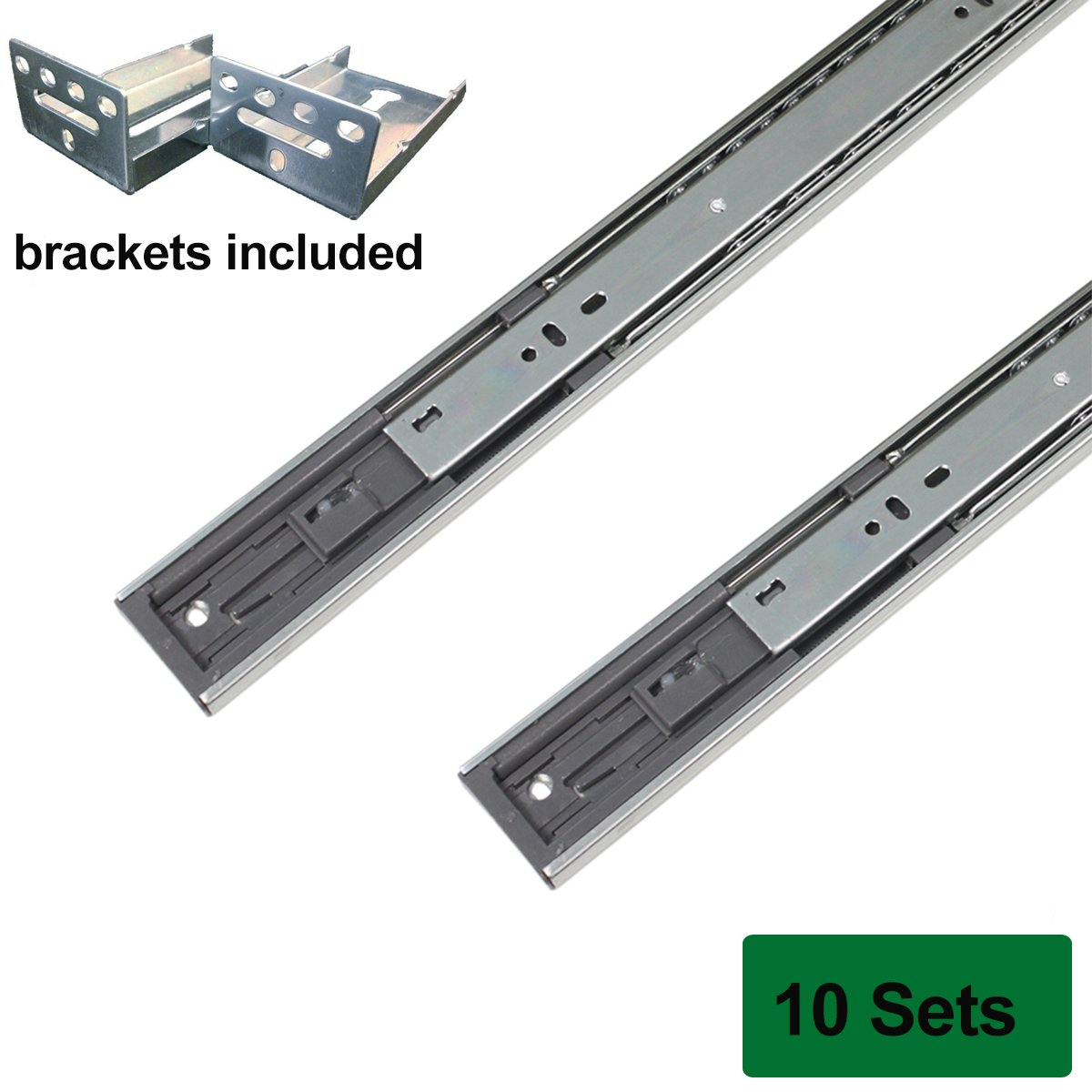Probrico Brackets Included Soft Close 18-inch Full-Ext Drawer Slide 100-Pound Capacity Rear Mount,10 Pairs Sets by Probrico (Image #1)
