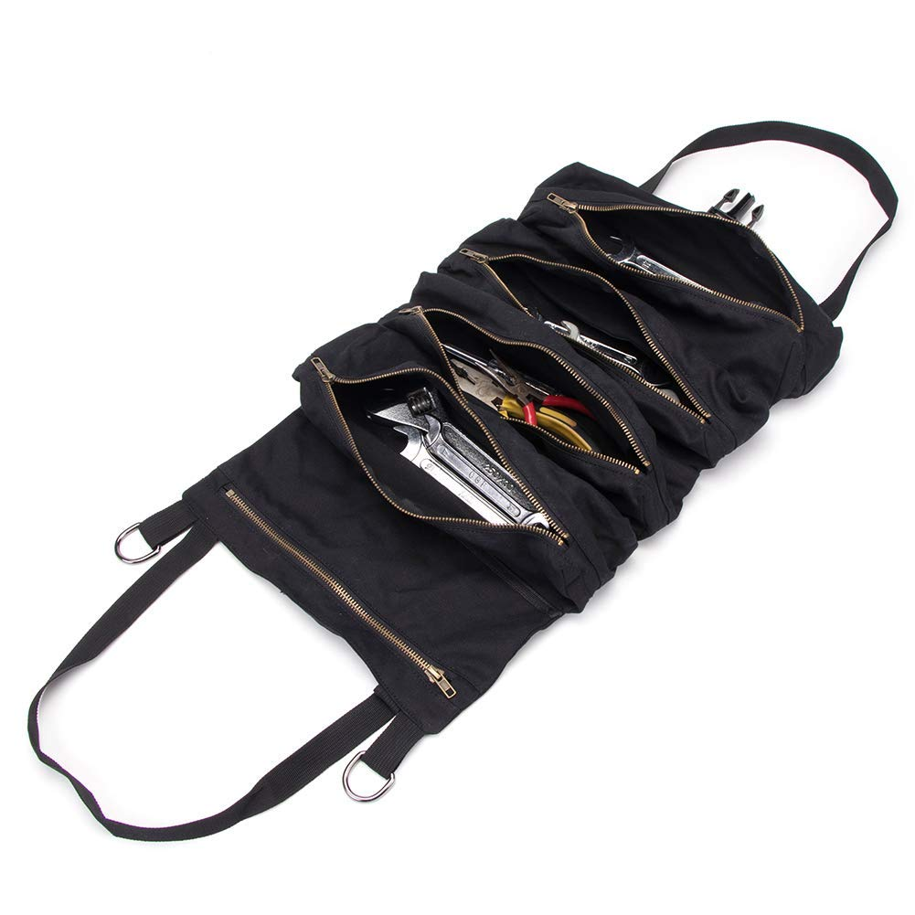 f/ür Elektriker Klempner strapazierf/ähig Werkzeugtasche mit 5 Rei/ßverschlusstaschen HVAC schwarz Zimmermann oder Mechaniker