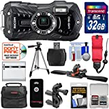 Ricoh WG-50 Waterproof/Shockproof Digital Camera (Carbon Grey) with 32GB Card + Helmet & Bike Mounts + Battery + Case + Tripod + Strap Kit