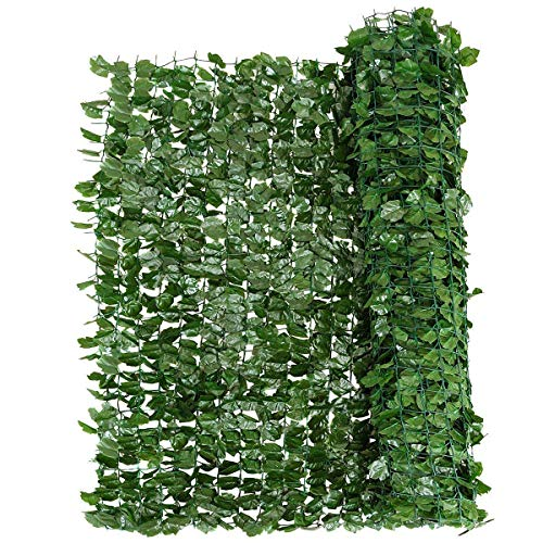 Giantex Artificial Hedges Faux Ivy Leaves Fence Decorative Trellis Privacy Fence Screen Mesh (40