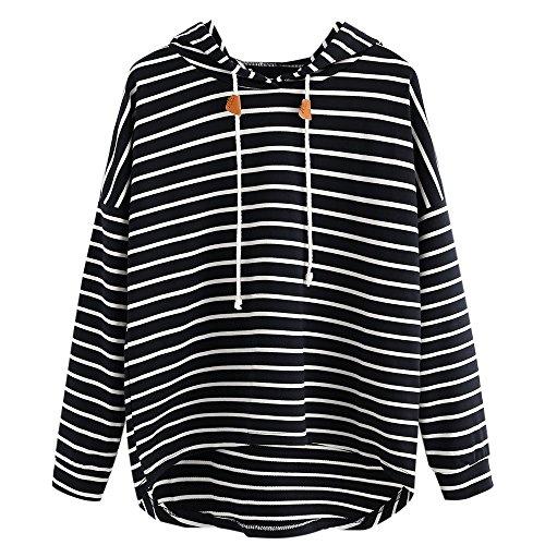 STORTO Women Stripe Hoodie Sweatshirt Casual Long Sleeve Crop Jumper Drawstring Pullover Tops