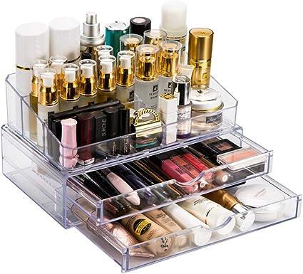 Organizador De Maquillaje Caja De Cosméticos. Acrílico Transparente Maquillaje Organizador Soporte De Almacenamiento Mesa Para Cosméticos, Esmalte De Uñas, Artes Y Oficios, Maquillaje: Amazon.es: Belleza